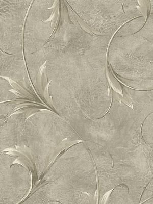 - Wallpaper Designer Large Cream & Gray Taupe Leaf Scroll on Metallic Gray Faux