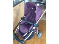 Icandy cherry with with matching foot muff in mulberry colour