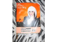 FUNKY BLACK AND WHITE FANCY DRESS WIG GREAT FOR HALLOWEEN PARTY