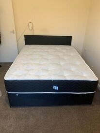 Black Divan Double Bed 💛 Mattress + Same Day Delivery