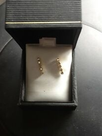 14k champagne diamond earrings new
