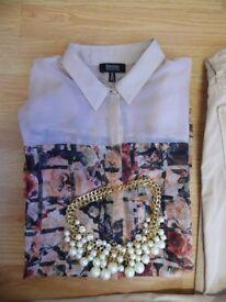 Bershka S-M shirt,worn once,vintage,flowers print,like new