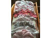 11 girls babygrows age 0-1 month
