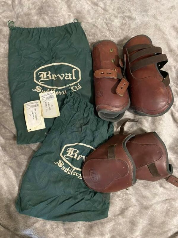 BEVAL Saddlery Leather Open Front & Hind Splint Boots