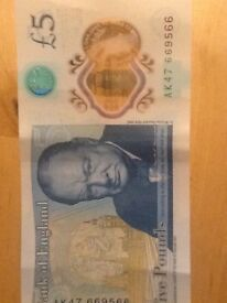 AK47 669566 five pound note for sale in perfect condition