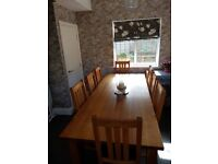 Solid Oak 2.4 Metres Dinning Table & 8 chairs