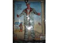 MONEY MAN L / XL I FANCY DRESS OUTFIT WITH DOLLAR RINGS SOME GOLD HAS RUBBED OFF PARTY OR STAG DO