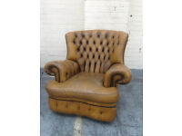 Vintage high backed leather Chesterfield Armchairs 1 mustard 1 green