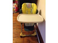 High chair and toys