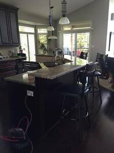 Solid wood cherry kitchen cabinets with granite counters