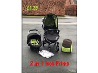 New Hauck icoo Primo 2 in 1 travel system in lime and black pram pushchair from birth only £125