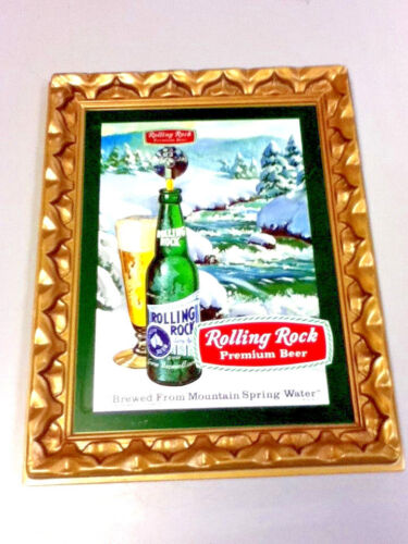 Rolling Rock beer sign pressed formed plastic framed wall tacker old vintage KY2