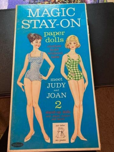 Vintage Magic Stay-on Paper Dolls, Judy and Joan, Whitman #4701, 1963 w/clothes