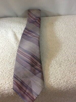 SAMUELS The Horns tie Oak Ridge Tenn gray with mauve blue & tan colors pre-owned Oak Ridge Stripes