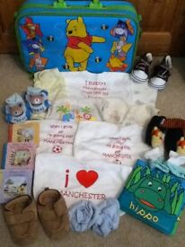 bundle of baby boy items with winnie the pooh suit case!