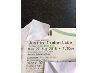 SELLING VERY CHEAP!! 2 JUSTIN TIMBERLAKE TICKETS £190 PAIR!! GOOD SEATS 27TH AUGUST BIRMINGHAM