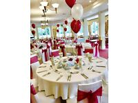 Wedding chair cover and venue decorations