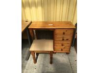 Pine desk and stool