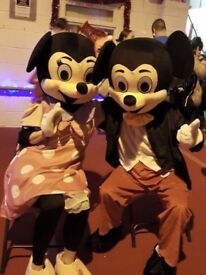 Mickey Mouse or Minnie unmanned mascot costume hire