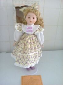 porcelain doll on stand purple/ cream/white dress name Diana