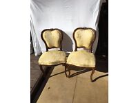 Antique gold brocade walnut wood parlour chairs