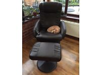 Aldiss brown leather massage chair & foot stall.