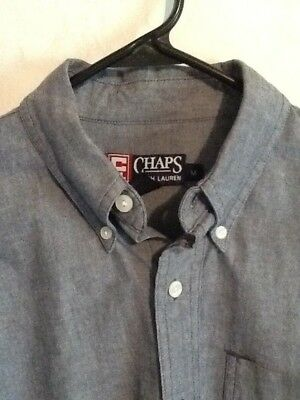 Ralph Lauren Chaps Vintage Gray 100% Cotton Dress/Casual Shirt Size M