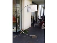 Extra large chrome floor lamp stand and gold monochrome internal design shade