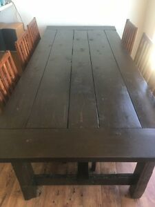 Solid wood harvest table from reclaimed barn wood