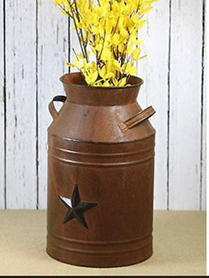 Texas Star Steel Milk Can Container Vase Rustic Tin Metal Decor Cabin Country  - Tin Vase
