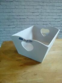 2x shabby chic wooden storage boxes