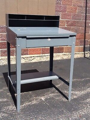 Vtg Gray Metal Industrial Formans In Factory Floor Desk With Drawer - Very Good