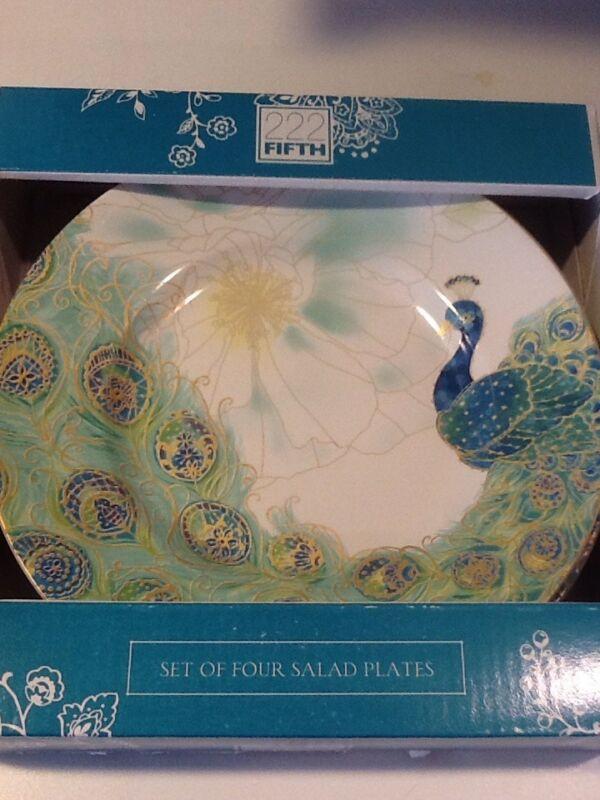 222Fifth Lakshmi Peacock 4 New In Box Salad Plates