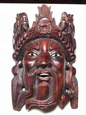 Chinese Dragon Mask (Vintage Chinese Emperor Dragon Wooden Mask )