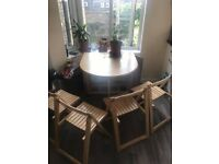 Wooden folding dining table and chairs