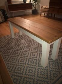 Solid Pine Dining Bench With Painted Legs