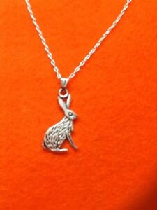 TIBETAN SILVER RABBIT/HARE PENDANT+CHAIN NECKLACE JEWELLERY GIFT/CHRISTMAS/CHILD