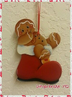 HP Hand painted Gingerbread Boy,  Wooden Christmas Ornament, Santa, Red Boot