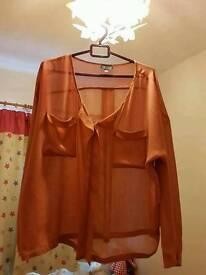 Topshop oversized sheer blouse size 14