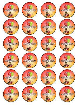 X24 21ST BIRTHDAY PARTY CUP CAKE TOPPERS DECORATIONS IDEAS ON RICE PAPER