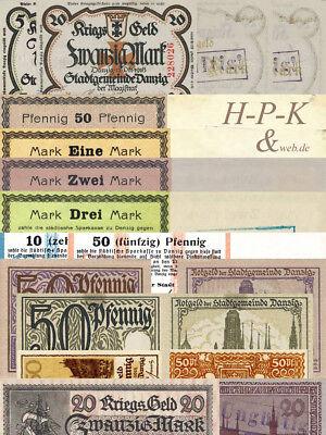(Reproduktionen !)  Banknoten besetzter deutscher Gebiete Danzig 1914 - 1919