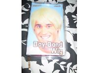 MENS BOY BAND 80s SHORT BLONDE FANCY DRESS WIG GREAT FOR PARTY OR STAG DO