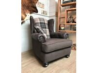 High WingBack Armchair Fabric Tartan + Cushion