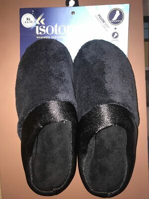 NWT Isotoner Women's Clog Slippers with Pretty Satin Trim Black xl 9.5 10