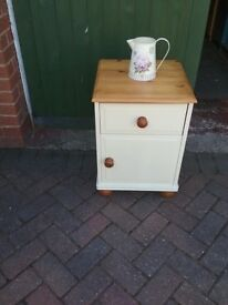 Pine painted one draw bedside unit