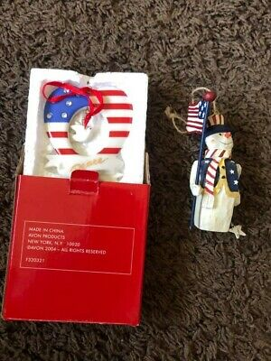 Patriotic ornaments, set of 2, snowman and red,white and blue heart w/dove, AVON - Heart Ornaments Set