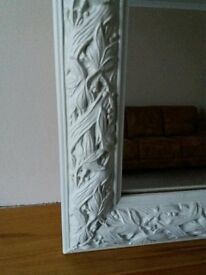Large Shabby Chic Mirror, Cream