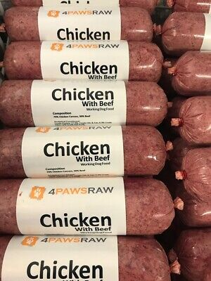 Premium Chicken with Beef Raw Dog Food 20 x 500g packs10kg4PAWSRAW Dog Food