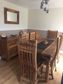Stunning solid wood chunky Table & 8 chairs + sideboard + mirror