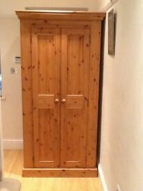 Solid pine Tuscan 'all hanging' wardrobe. Excellent condition